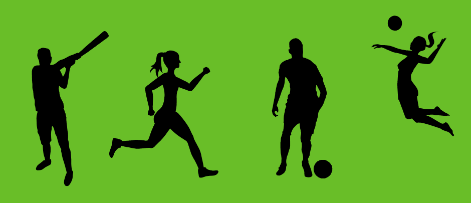 Sillhouettes of people playing sports